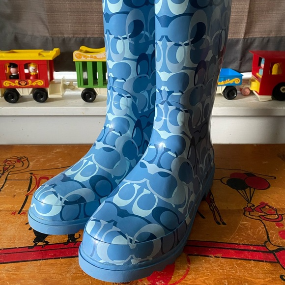 Coach blue paisley rain boots